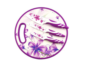 Purple 4pcs Non-Stick Knife Set with Chopping Board