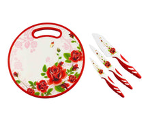 Red 4pcs Non-Stick Knife Set with Chopping Board