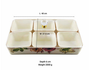 Melamine Snack Tray with Six Compartments
