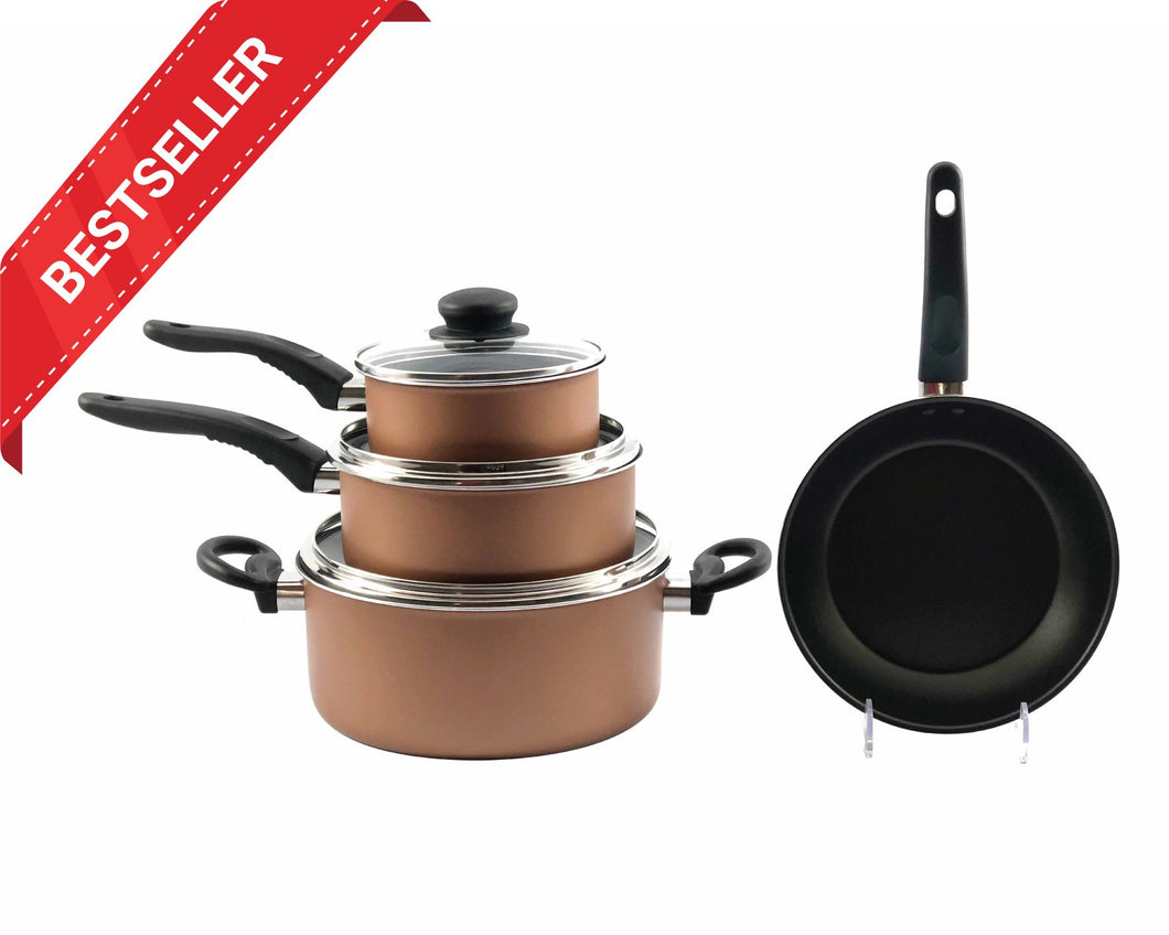 Copper Non-Stick 4pcs Cookware Set