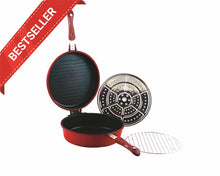 Red Non-Stick Double Round Frying Pan 26cm
