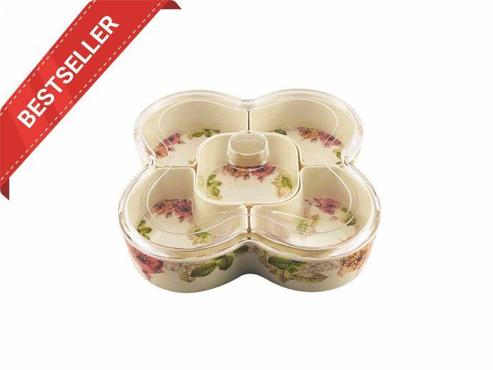 Melamine Snack Tray with Five Compartments