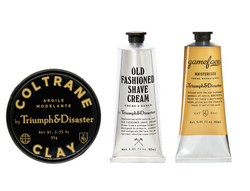 fathers day, gifts, gifting, best gifts for men, mens gifts, Coltrane, triumph and disaster, game face, old fashioned shaving cream, clay, shaving kit, shaving gift,