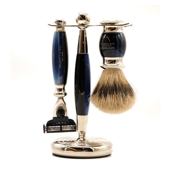 mens grooming products, mens hair products, male grooming tools, skincare, male skincare, Hair, Sydney, Australia, barber, male grooming, mens retail, male style, conditioner, online shopping, mens gifts, barberhood, barbershop, Truefitt & Hill Edwardian Mach3 Shaving Set - Multiple Colours, traditional shave