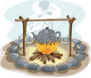 kettle boiling over a campfire