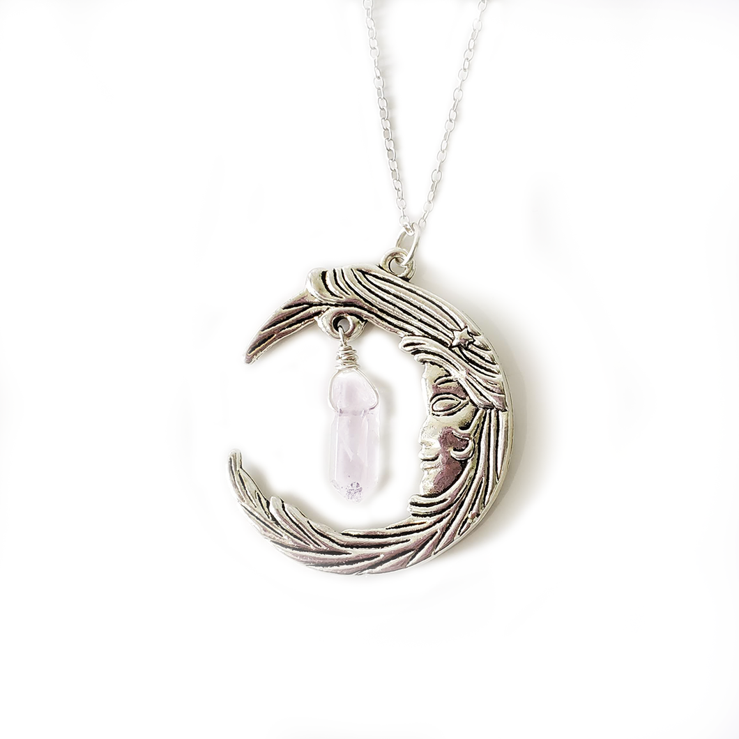 Divine Feminine Waxing Moon with Angel Quartz or Labradorite