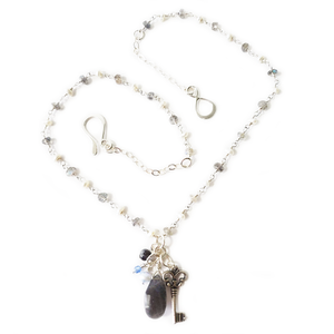 Labradorite and Pearl Key Necklace