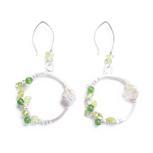 Peridot, Jade, and Opal Earrings