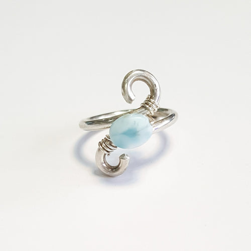 Larimar Wire-Wrapped Ring