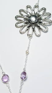 Amethyst and Rose Quartz Flower Necklace