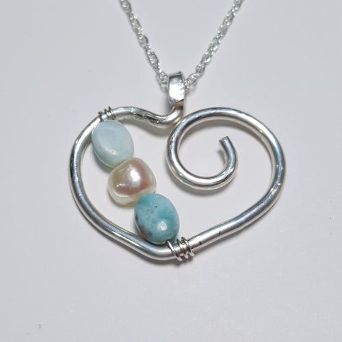 Larimar Heart Necklace