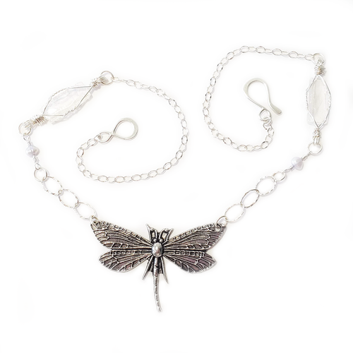 Dragonfly, Pearl, and Selenite Necklace