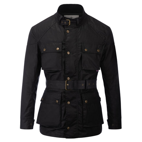 Mens Soho Motorcycle Wax Jacket Black