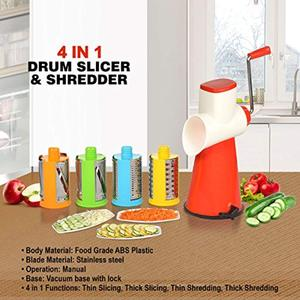4 in 1 Drum Grater Shredder Slicer 4 Pieces. This intelligently designed kitchen tool saves time as one can easily and quickly grate and slice large quantities of vegetables, nuts or cheese instead of using a knife to cut them individually.