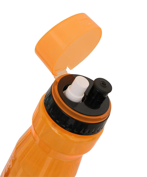 NIVIA 'Running' Sipper - Sip & Spray The bottle has a push-pull cap which minimizes the possibility of leakages. Also, since it has a narrow mouth, the chances of spillage are also negligible. This bottle is completely safe as it is made of non-toxic material which does not harm your health in anyway. Your body requires sufficient amount of water when you are exercising or running, carry water to the gym or to the playground in the nivia running water bottle. Material: Plastic. In-Box Contents: 1 Sipper