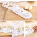 2 in 1 Egg Slicers Sectioned Cutter Mold Flower Edges Chopper Kitchen Tools. The innovative 2 in 1 style quickly allows you to slice two eggs. Slices eggs on the left side and turns them into moon-shaped wedges on the right side.