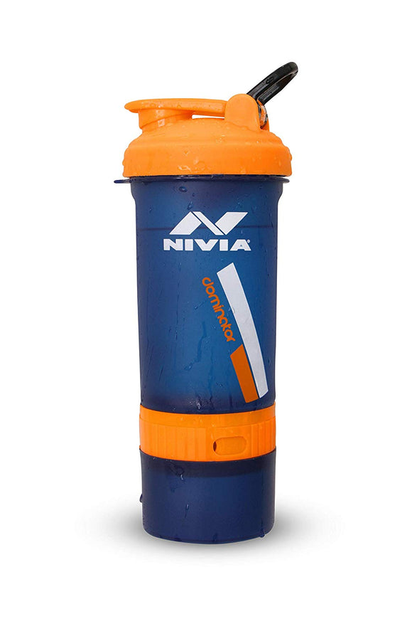 NIVIA 'Dominator 2.0' Shaker It has 650 ml capacity and large spout for easy drinking. Designed for smooth mixing protein drinks at gyms or for energy drinks for outdoor sports. The secure screw lid top ensures no spills whilst the wide spout and 'flip cap' offer an easy to use. Dishwasher safe- easy to clean, freezer safe, bpa free. Shaker comes with measurement scale in ml.