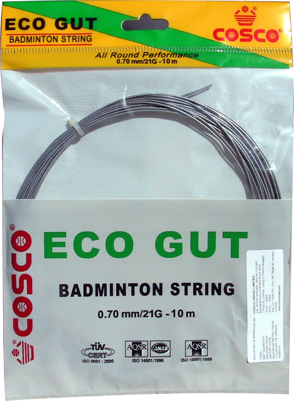 Cosco Badminton Racket String 'Eco Gut'. Thickness: 0.70 mm. Length: 10 m. Gauge: 21g