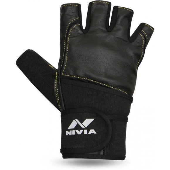 Nivia Sports/Gym Gloves 'Venom' Material : Microfiber & Leather. Adjustable wrist closure for custom fit. Cut finger and padded palm for weight lifting or driving. Padding all around for better cushioning and comfort. Proffesional Leather with Strap. Sizes : Small | Medium | Large | Extra Large.
