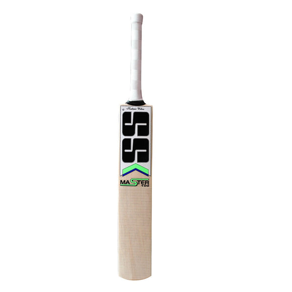 Master 100 Kashmir Willow Bat Round Handle. Specially Designed White Chevron Grip. Combination of Sarawak cane Handle. Tape on front. Concave Edge. Huge Edge Super Rebounded Quality.