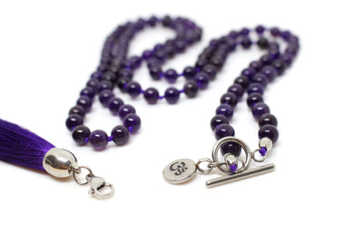 8mm Amethyst Mala Beads Wrap Necklace with Removable Tassel - MeruBeads