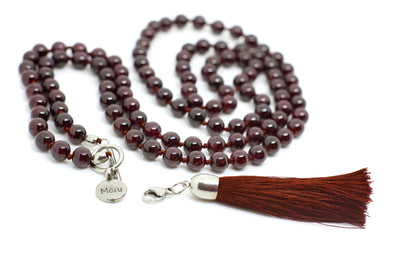 Garnet MalaBeads Necklace with Removable Tassel