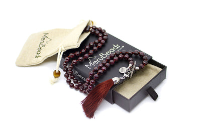 Garnet Mala Necklace with Removable Tassel