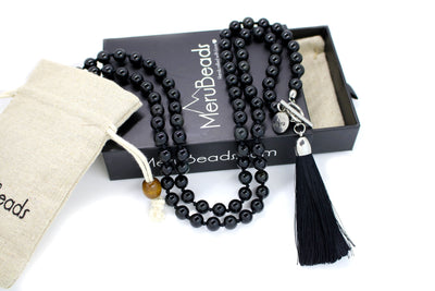 MeruBeads Obsidian Meditation Necklace with Removable Tassel