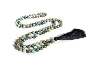 "African Turquoise Mala Beads Necklace - ""I am Divine"" - MeruBeads"