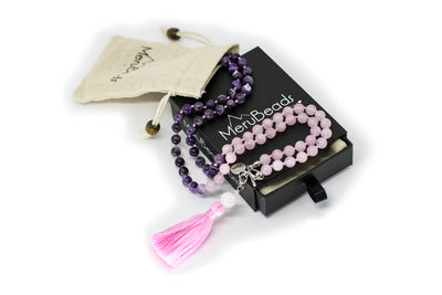 8mm Amethyst & Rose Quartz Ombre Mala Beads Wrap Necklace with Removable Tassel