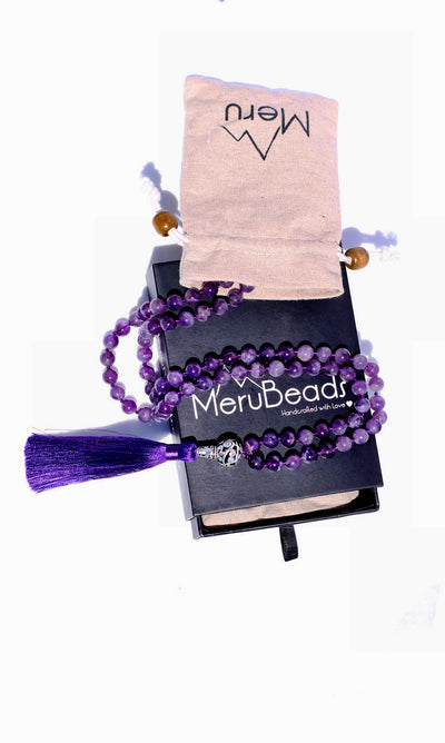 Amethyst Mala Beads Necklace - MeruBeads