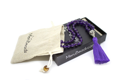 Amethyst Pocket Mala - 54 Beads Mini Mala - MeruBeads