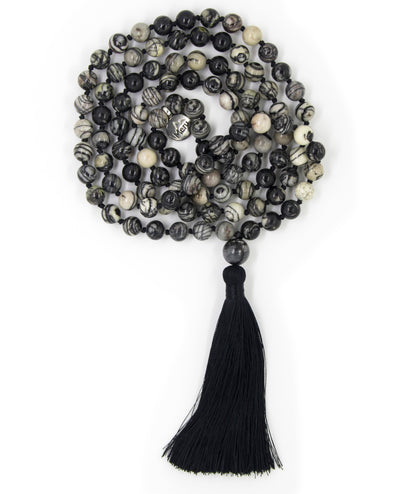 "Black Veined Jasper Mala Beads Necklace - ""I am Determined"""