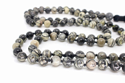 MeruBeads Premium Black Veined Jasper Mala Necklace for women