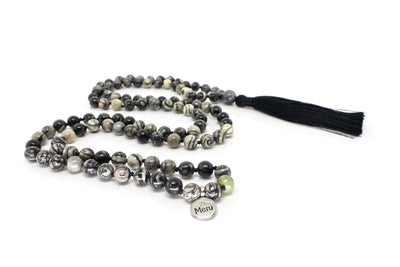 MeruBeads Premium Black Veined Jasper Meditation Necklace