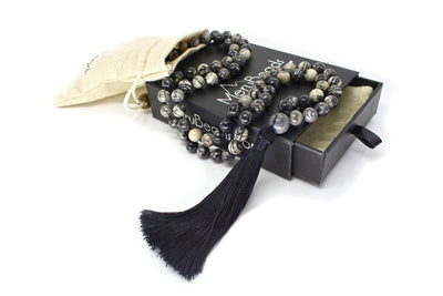 MeruBeads Premium Black Veined Jasper Mala Beads Necklace