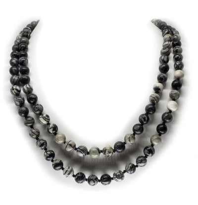 8mm Black Veined Jasper Mala Beads Wrap Necklace with Removable Tassel - MeruBeads