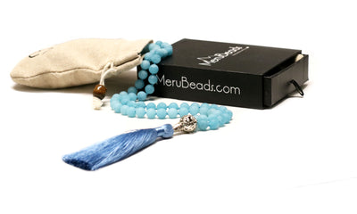 Blue Quartz Mala Beads Necklace Side View