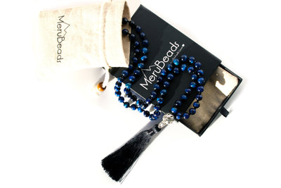 Tiger's Eye Blue Mala Necklace