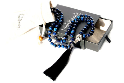 Tiger's Eye Blue Mala Beads Necklace