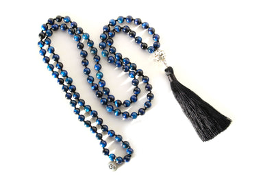 Tiger's Eye Blue Mala Beads Necklace - MeruBeads
