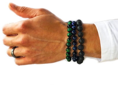 10mm Lava Rock Mala Bracelet for Men