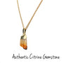 Raw Citrine Pendant with Gold Plated Necklace - MeruBeads