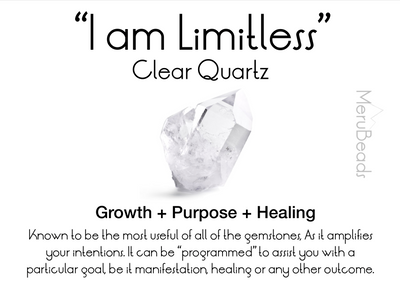 "Clear Quartz Mala Beads Necklace - ""I am Limitless"" - MeruBeads"