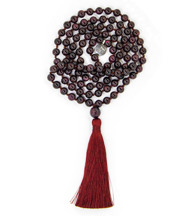 "Garnet Jade Mala Beads Necklace - ""I am Love"""
