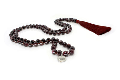 MeruBeads Premium Garnet Meditation Necklace
