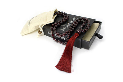 MeruBeads Premium Garnet Mala Beads Necklace