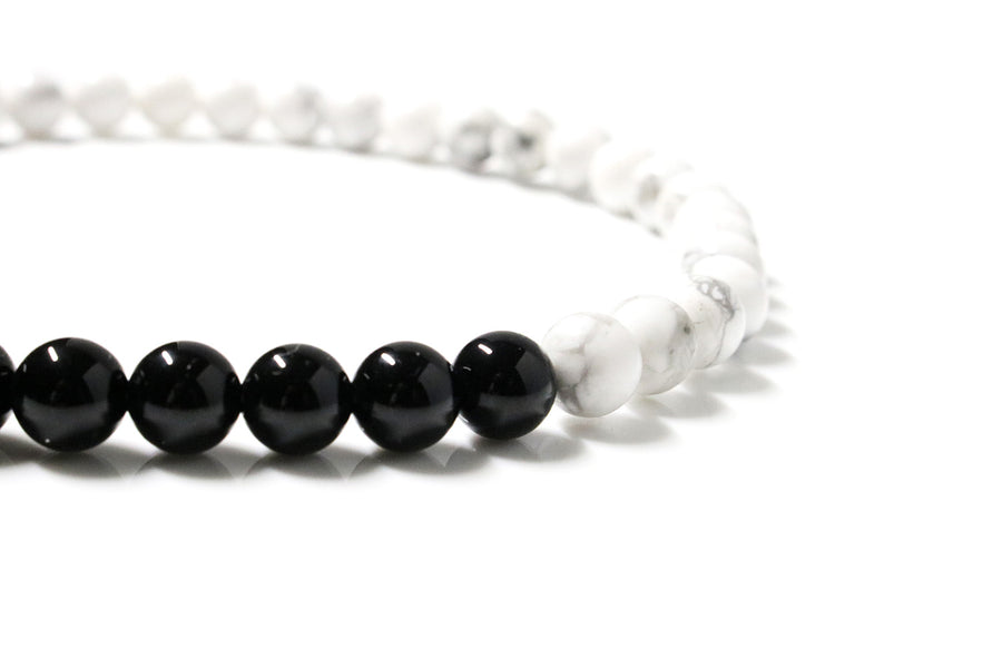 Obsidian & Howlite Wrap Bracelet for Women