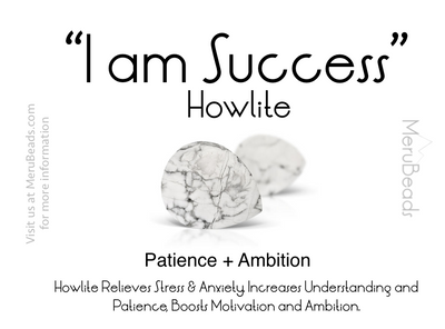 Howlite gemstone mantra card I am success