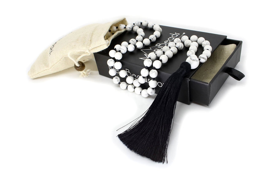 "Howlite Mala Beads Necklace - ""I am Success"" - MeruBeads"